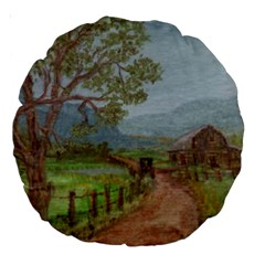 Amish Buggy Going Home  by Ave Hurley of ArtRevu ~ Large 18  Premium Round Cushion