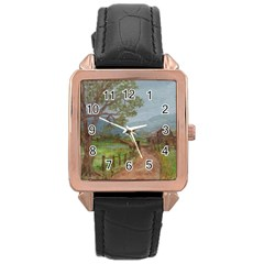 amish Buggy Going Home  By Ave Hurley Of Artrevu   Rose Gold Leather Watch