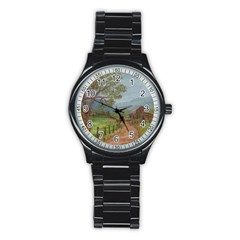 Amish Buggy Going Home  by Ave Hurley of ArtRevu ~ Stainless Steel Round Watch
