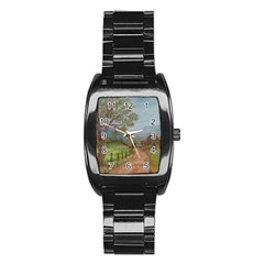Amish Buggy Going Home  by Ave Hurley of ArtRevu ~ Stainless Steel Barrel Watch