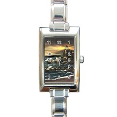 bridget s Lighthouse   By Ave Hurley Of Artrevu   Rectangle Italian Charm Watch