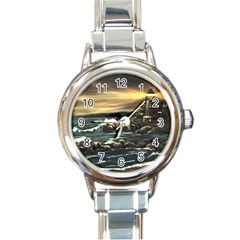 Bridget s Lighthouse   by Ave Hurley of ArtRevu ~ Round Italian Charm Watch