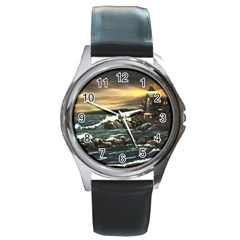 Bridget s Lighthouse   by Ave Hurley of ArtRevu ~ Round Metal Watch