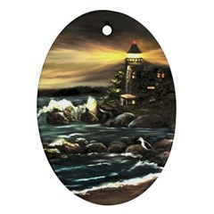 Bridget s Lighthouse   by Ave Hurley of ArtRevu ~ Ornament (Oval)