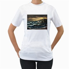 bridget s Lighthouse   By Ave Hurley Of Artrevu   Women s T Shirt (white) (two Sided)