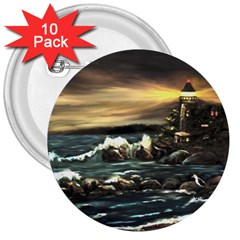 Bridget s Lighthouse   by Ave Hurley of ArtRevu ~ 3  Button (10 pack)