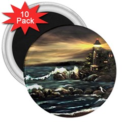bridget s Lighthouse   By Ave Hurley Of Artrevu   3  Magnet (10 Pack)