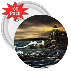 bridget s Lighthouse   By Ave Hurley Of Artrevu   3  Button (100 Pack)