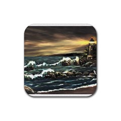 bridget s Lighthouse   By Ave Hurley Of Artrevu   Rubber Square Coaster (4 Pack)