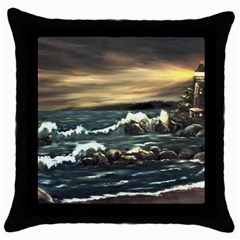 bridget s Lighthouse   By Ave Hurley Of Artrevu   Throw Pillow Case (black)