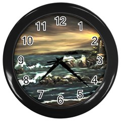 bridget s Lighthouse   By Ave Hurley Of Artrevu   Wall Clock (black)