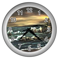 bridget s Lighthouse   By Ave Hurley Of Artrevu   Wall Clock (silver)