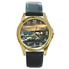 Bridget s Lighthouse   by Ave Hurley of ArtRevu ~ Round Gold Metal Watch