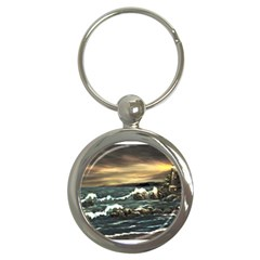 bridget s Lighthouse   By Ave Hurley Of Artrevu   Key Chain (round)