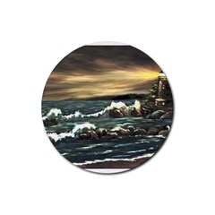 Bridget s Lighthouse   by Ave Hurley of ArtRevu ~ Rubber Round Coaster (4 pack)