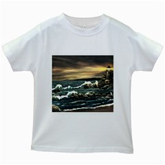 Bridget s Lighthouse   by Ave Hurley of ArtRevu ~ Kids White T-Shirt
