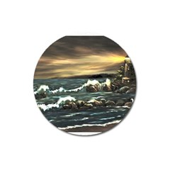 bridget s Lighthouse   By Ave Hurley Of Artrevu   Magnet 3  (round)