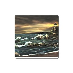 Bridget s Lighthouse   by Ave Hurley of ArtRevu ~ Magnet (Square)