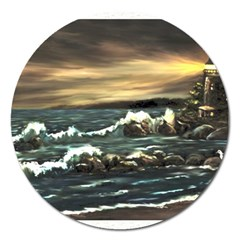 Bridget s Lighthouse   by Ave Hurley of ArtRevu ~ Magnet 5  (Round)