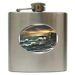 bridget s Lighthouse   By Ave Hurley Of Artrevu   Hip Flask (6 Oz)