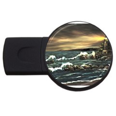 Bridget s Lighthouse   by Ave Hurley of ArtRevu ~ USB Flash Drive Round (2 GB)