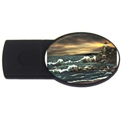 Bridget s Lighthouse   by Ave Hurley of ArtRevu ~ USB Flash Drive Oval (2 GB)
