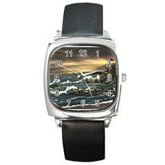 bridget s Lighthouse   By Ave Hurley Of Artrevu   Square Metal Watch