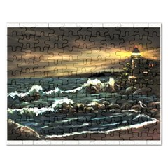 Bridget s Lighthouse   by Ave Hurley of ArtRevu ~ Jigsaw Puzzle (Rectangular)