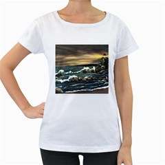 Bridget s Lighthouse   by Ave Hurley of ArtRevu ~ Women s Loose-Fit T-Shirt (White)