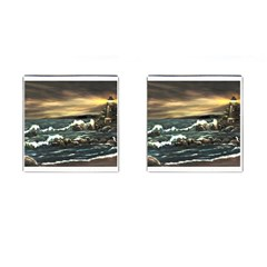 Bridget s Lighthouse   by Ave Hurley of ArtRevu ~ Cufflinks (Square)