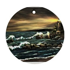 Bridget s Lighthouse   by Ave Hurley of ArtRevu ~ Round Ornament (Two Sides)