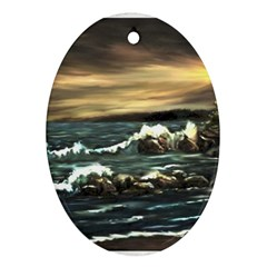 Bridget s Lighthouse   by Ave Hurley of ArtRevu ~ Oval Ornament (Two Sides)