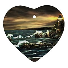 Bridget s Lighthouse   by Ave Hurley of ArtRevu ~ Heart Ornament (Two Sides)