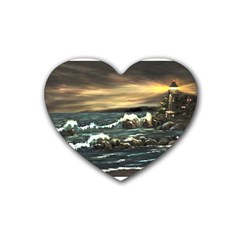 Bridget s Lighthouse   by Ave Hurley of ArtRevu ~ Rubber Heart Coaster (4 pack)