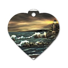 bridget s Lighthouse   By Ave Hurley Of Artrevu   Dog Tag Heart (one Side)