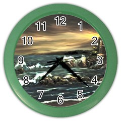 Bridget s Lighthouse   by Ave Hurley of ArtRevu ~ Color Wall Clock