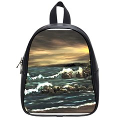 bridget s Lighthouse   By Ave Hurley Of Artrevu   School Bag (small)