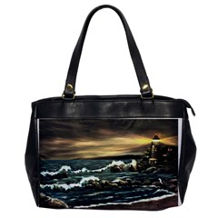 bridget s Lighthouse   By Ave Hurley Of Artrevu   Oversize Office Handbag