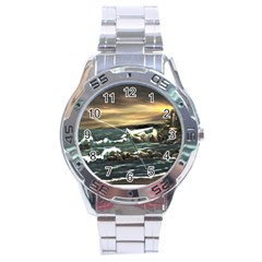 Bridget s Lighthouse   by Ave Hurley of ArtRevu ~ Stainless Steel Analogue Watch