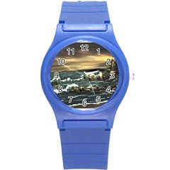 Bridget s Lighthouse   by Ave Hurley of ArtRevu ~ Round Plastic Sport Watch (S)