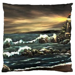 Bridget s Lighthouse   by Ave Hurley of ArtRevu ~ Large Cushion Case (One Side)