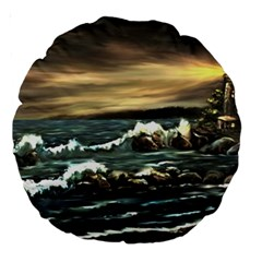bridget s Lighthouse   By Ave Hurley Of Artrevu   Large 18  Premium Round Cushion