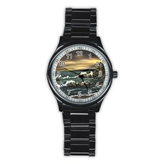 Bridget s Lighthouse   by Ave Hurley of ArtRevu ~ Stainless Steel Round Watch