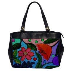 Wild Garden Abstract Floral Leather Like Handbag