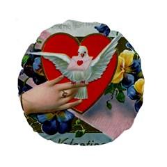Vintage Valentine 15  Premium Round Cushion