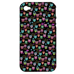 Happy owls Apple iPhone 4/4S Hardshell Case (PC+Silicone)