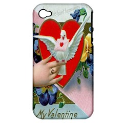 Vintage Valentine Apple iPhone 4/4S Hardshell Case (PC+Silicone)