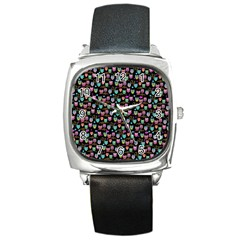 Happy Owls Square Leather Watch