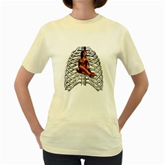 Eat Your Heart Out  Womens  T-shirt (Yellow)