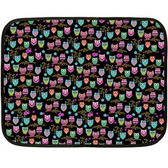 Happy Owls Mini Fleece Blanket (Two Sided)